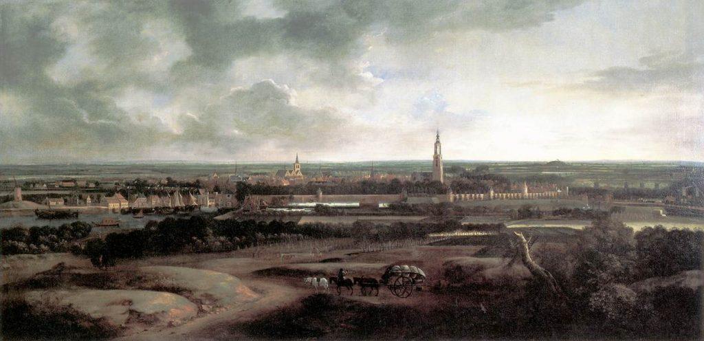 Gezicht op Amersfoort -  Mathias Withoos, ca. 1671 - Mogelijk werkte Caspar van Wittel aan dit werk mee (Publiek Domein - Museum Flehite - wiki)
