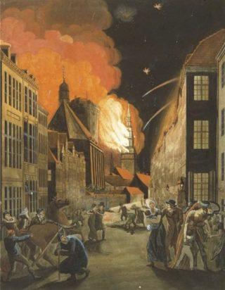 Brand in Kopenhagen na de aanval van 1807 - Christoffer Wilhelm Eckersberg (Publiek Domein - wiki)