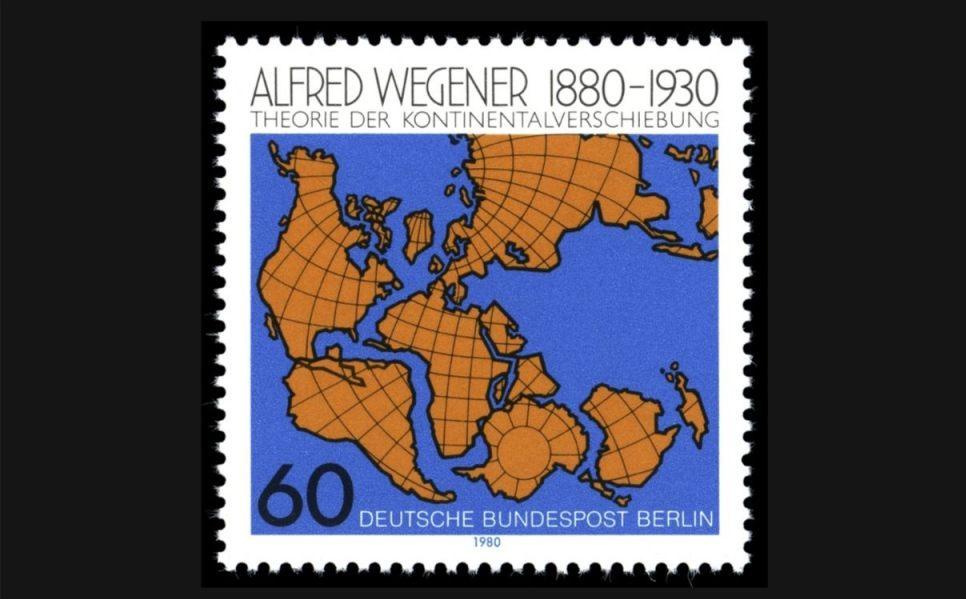 Duitse postzegel ter ere van Alfred Wegener en de theorie van de continentale drift (Publiek Domein - wiki)