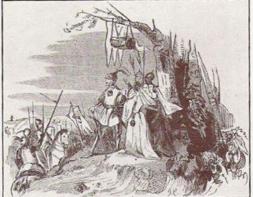 Grimbergse Oorlogen - Godfried III van Brabant in zijn wieg aan de tak van een eik tijdens de Slag van Ransbeek.