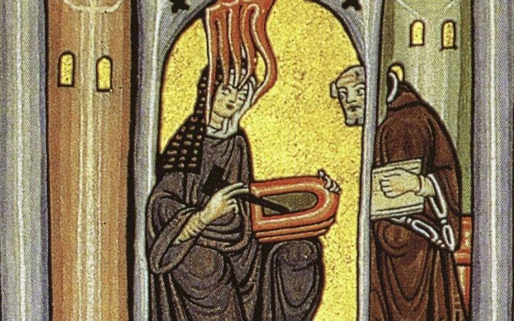Hildegard van Bingen schrijft haar visioenen neer op wastabletten. (Publiek Domein - wiki)
