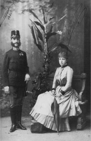 Koning Alfons XII met zijn tweede vrouw Maria Christina van Oostenrijk
