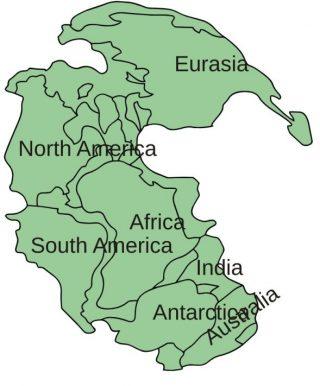 Pangea met daarbij de delen van de huidige continenten (CC BY-SA 3.0 - Kieff - wiki)
