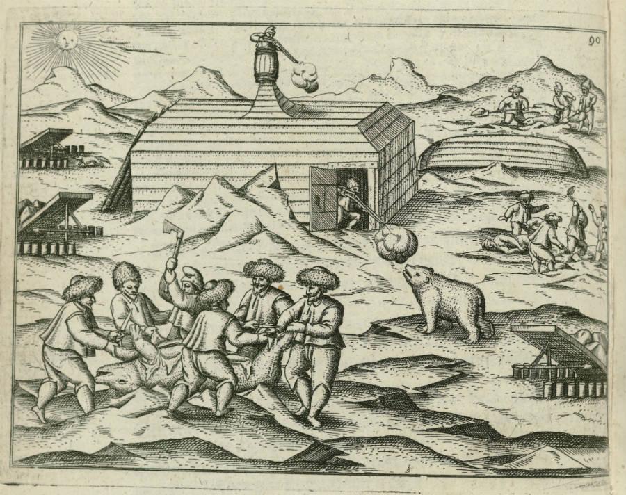 IJsberen bij het Behouden Huis - Afbeelding uit het dagboek van Gerrit de Veer (Rijksmuseum Amsterdam)