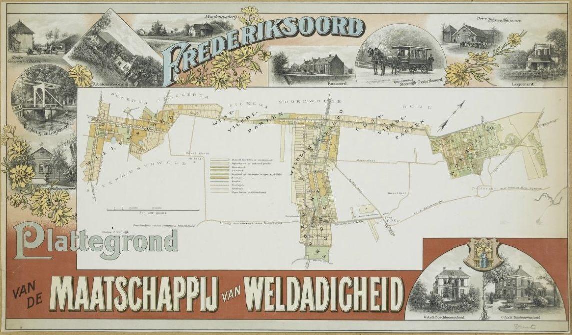 Plattegrond Maatschappij van Weldadigheid in de tweede helft van de 19e eeuw: Willemsoord, Frederiksoord, Wilhelminaoord en kolonie VII (Publiek Domein - wiki)