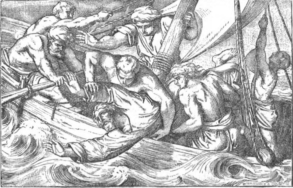 De profeet Jona wordt overboord gegooid (Publiek Domein - wiki)
