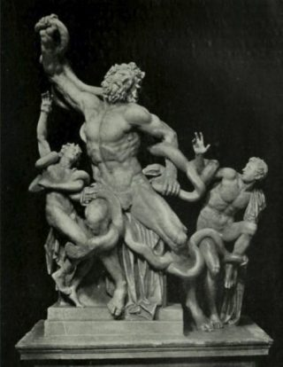 De Laokoöngroep zoals die tussen circa 1540 en 1957 was te zien, met bijgemaakt omhoog geheven rechterarm (Publiek Domein - wiki)