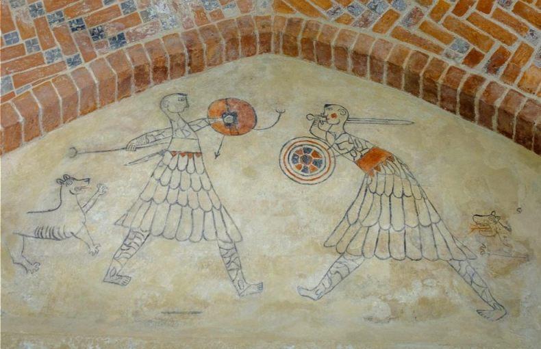 Friese kampvechters in de kerk van Westerwijtwerd. Schildering waarschijnlijk uit de 14e eeuw naar een 12e eeuws voorbeeld. (CC BY-SA 4.0 - Hardscarf - wiki)