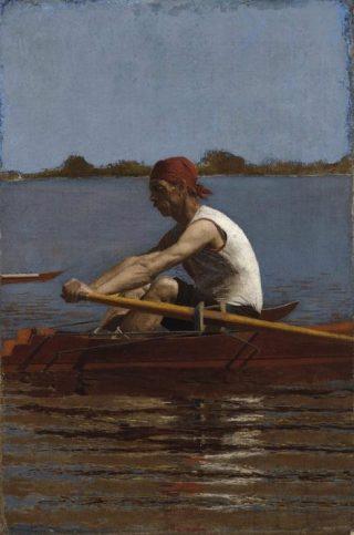 John Biglin in a Single Scull - Thomas Eakins, 1874 (Publiek Domein - wiki)
