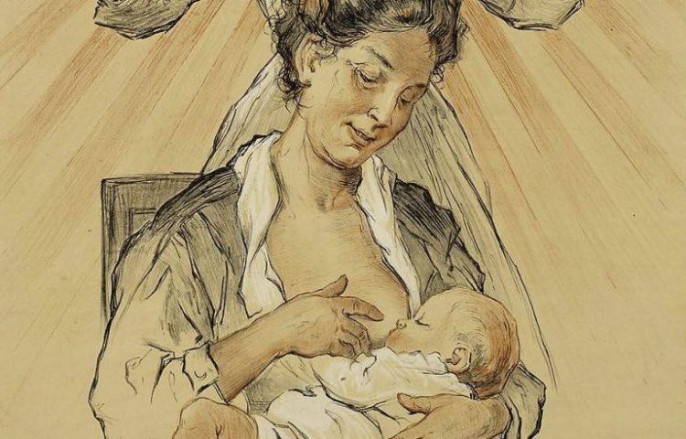 Afbeelding van een zuigeling op een poster van de Amsterdamse zuigelingenzorg, ca. 1910 (Publiek Domein - wiki)