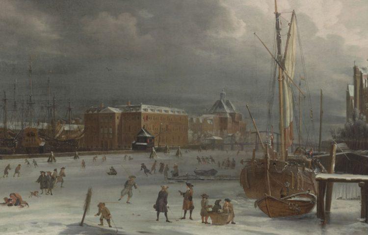 Het Zeemagazijn te Amsterdam omgeven door ijs. Schilderij door Albert Meijeringh. Startdatum 1665, voltooid in 1700. Collectie Het Scheepvaartmuseum.