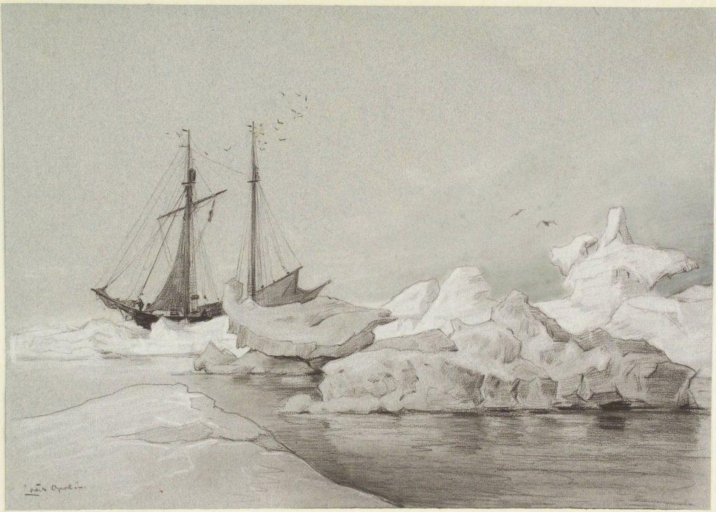De 'Willem Barents' aan het ijs geankerd (tijdens de derde expeditie naar de Noordelijke IJszee), gouache door Louis Apol, 1880. Collectie Het Scheepvaartmuseum.