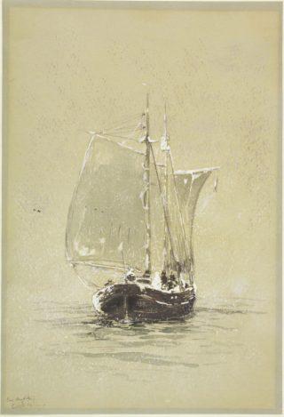 De 'Willem Barents' in een sneeuwbui (tijdens de derde expeditie naar de Noordelijke IJszee), gouache door Louis Apol, 1880. Collectie Het Scheepvaartmuseum.