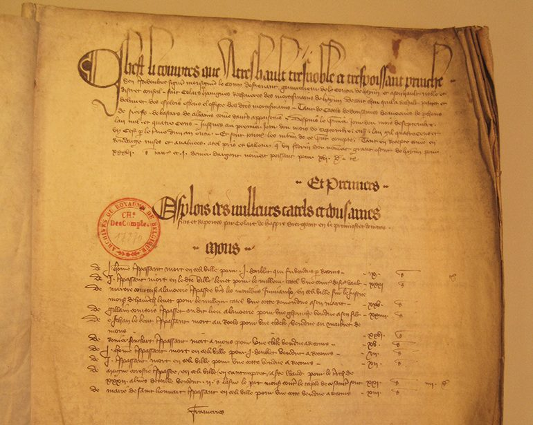 Mortmain rekening september 1400 september 1401 (Algemeen Rijksarchief Brussel Rekenkamer Brussel I 004 bestand 17870 folio 1)