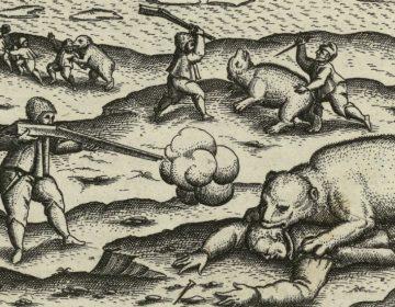 Detail van een tekening uit het dagboek van Gerrit de Veer (Rijksmuseum Amsterdam)