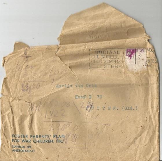 Envelop van Aartje van Drie Foster Parents Plan of War Children Inc.