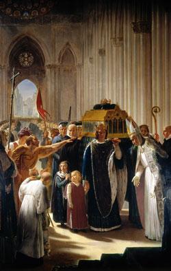 Begrafenis van de Franse koning Lodewijk IX in Saint Denis - Pierre-Narcisse Guérin (Publiek Domein - wiki)