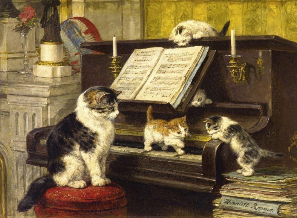 De Pianoles, 1897 - Henriëtte Ronner-Knip (Publiek Domein - wiki)