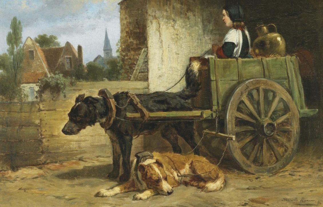 Hondenkar - Henriëtte Ronner-Knip (Publiek Domein - wiki)