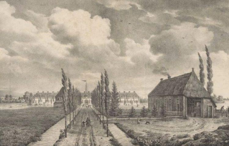 'Gezicht op het tweede gesticht in de kolonie Veenhuizen, Alexandre Joseph Boens, naar H. van Geelen, 1827' (Rijksmuseum Amsterdam)