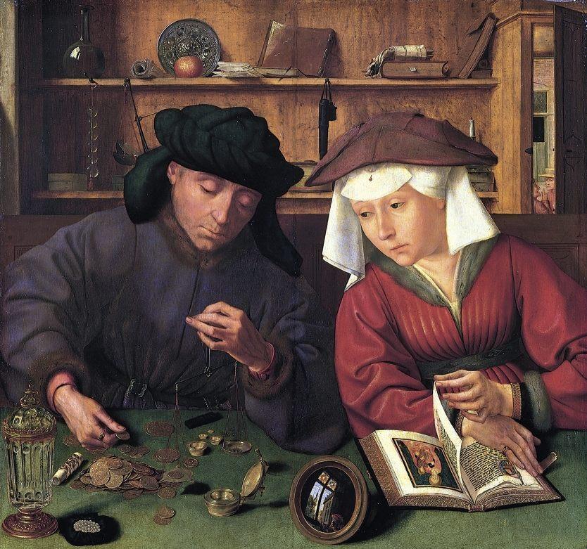 De goudweger en zijn vrouw (1514) - Publiek Domein / wiki