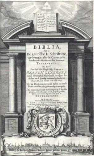 De titelpagina van de eerste druk van de Statenvertaling uit 1637, met een stadsgezicht op Leiden. (Uit de collectie van het NBG) - Publiek Domein / wiki