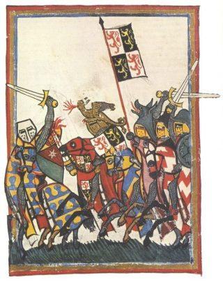 Afbeelding van de Slag bij Woeringen uit de Codex Manesse (1305-1340) - Publiek Domein / wiki