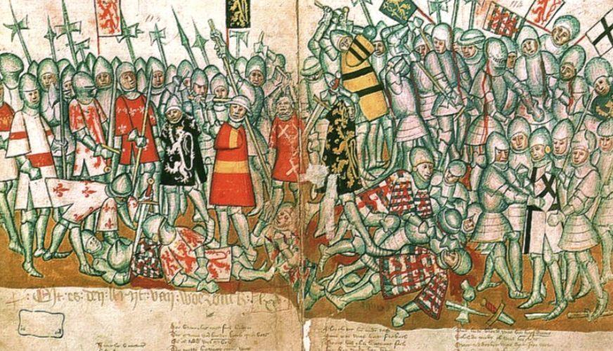 Verbeeldingen van de Slag bij Woeringen - Vijftiende-eeuws handschrift, Jan van Boendale (Publiek Domein - wiki)