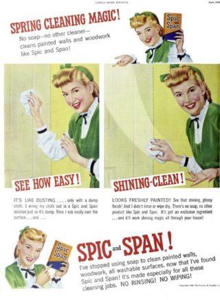 Advertentie uit 1948 voor 'Spic and Span' (Publiek Domein - wiki)