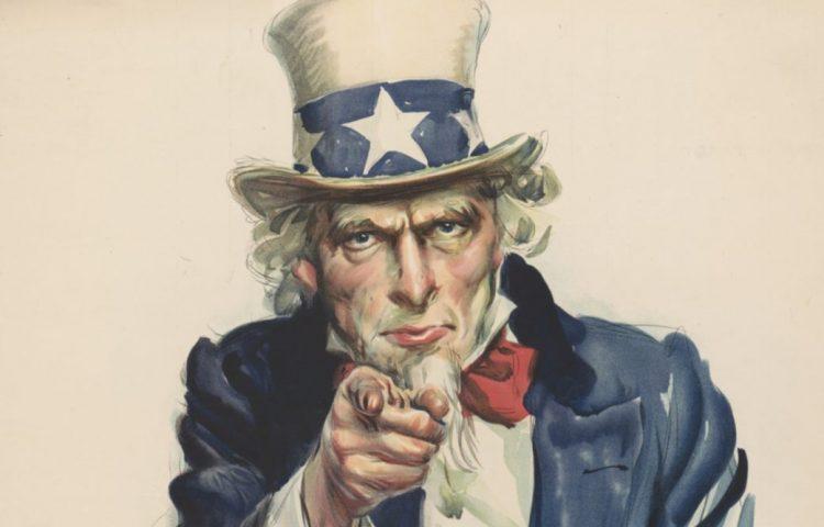 Verbeelding van Uncle Sam op een poster van J. M. Flagg's uit 1917 (Publiek Domein - wiki)