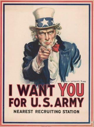Uncle Sam op een wervingsposter van het Amerikaanse leger