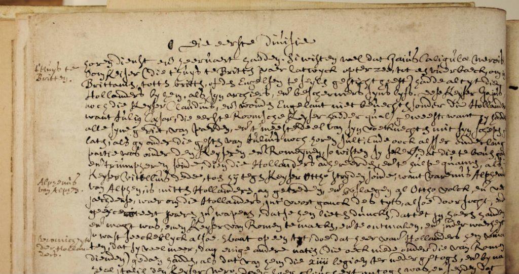 Handgeschreven tekst over Caligula's aanwezigheid bij de Brittenburg in een exemplaar van de Divisiekroniek uit 1517 met in de marge een verwijzing naar het Huis te Britten. Kort ervoor was de originele gedrukte pagina kennelijk weggenomen door iemand met interesse in dit tekstdeel. (afb. boek)