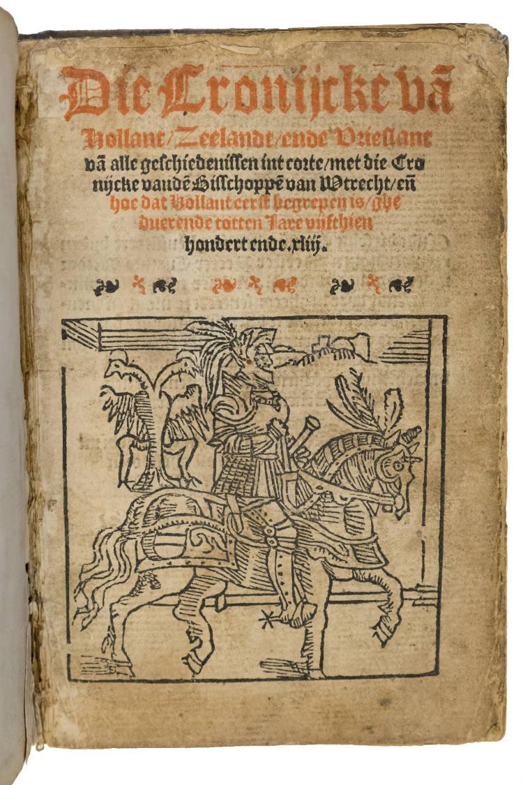 TitelbladTitelblad van een schoolboekje (editie 1543) met ridderplaatje. Erin staat een tekst over de Brittenburg met de oudste gedrukte vermelding van de hoogte van de in 1520 waargenomen resten. (afb. boek) van een schoolboekje (editie 1543) met ridderplaatje. Erin staat een tekst over de Brittenburg met de oudste gedrukte vermel‑ ding van de hoogte van de in 1520 waargenomen resten. (afb. boek)