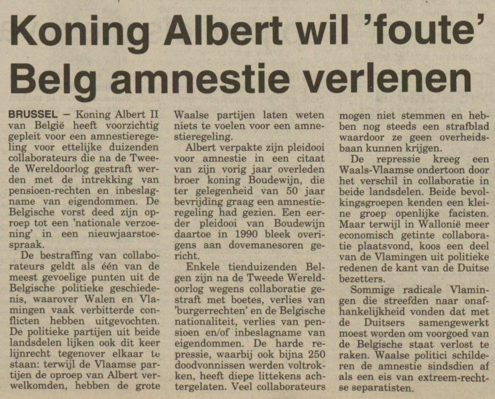 Artikel in het Nieuwsblad van het Noorden, 2 februari 1994 (Delpher)