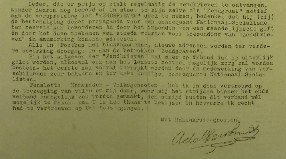 Eerste rondzendbrief (uitsnede) van Bertus Smit