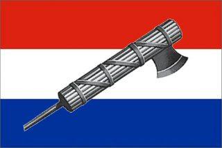 Het Nederlandse fascisme uitgebeeld als de Nederlandse vlag met fasces