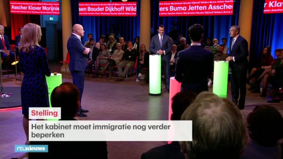 Still van RTL-debat, met landelijke kopstukken in debat over landelijke thema's