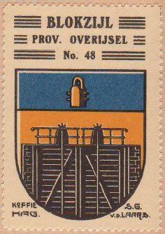 Wapen van Blokzijl op een oude postzegel (Publiek Domein - wiki)