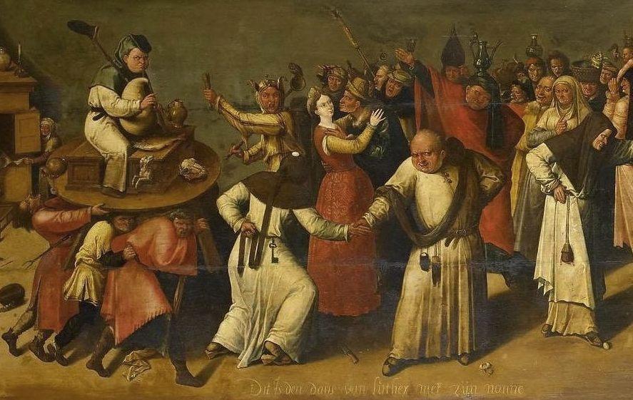 Het gevecht tussen Carnaval en Vasten, ca. 1600-1620 - Navolger van Jheronimus Bosch (Publiek Domein - wiki)