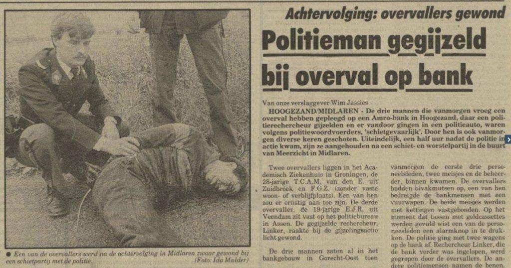 Krantenbericht over de arrestatie na de bankoverval - Nieuwsblad van het Noorden, 15 juni 1984 (Delpher)