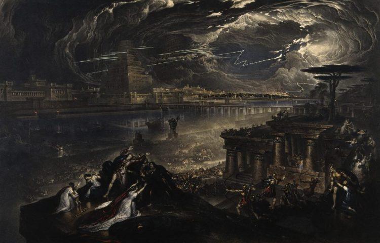 The fall of Babylon (mezzotint uit 1831 naar een schilderij uit 1818) - John Martin (CC BY 4.0 - Wellcome images - wiki)