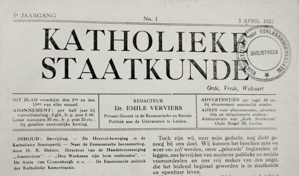 Katholieke Staatkunde, onder redactie van Emile Verviers (Publiek Domein - wiki)