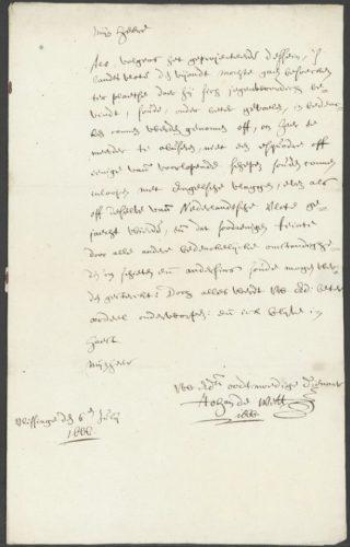 Brief Johan de Witt aan Michiel de Ruijter van 6 juli 1666 (Nationaal Archief 1.10.72, inv. nr. 92)
