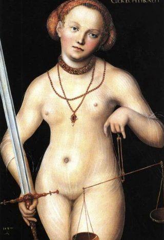 """""""Gerechtigheid als naakte vrouw met zwaard en weegschaal"""" van Lucas Cranach de Oude, rond 1537"""