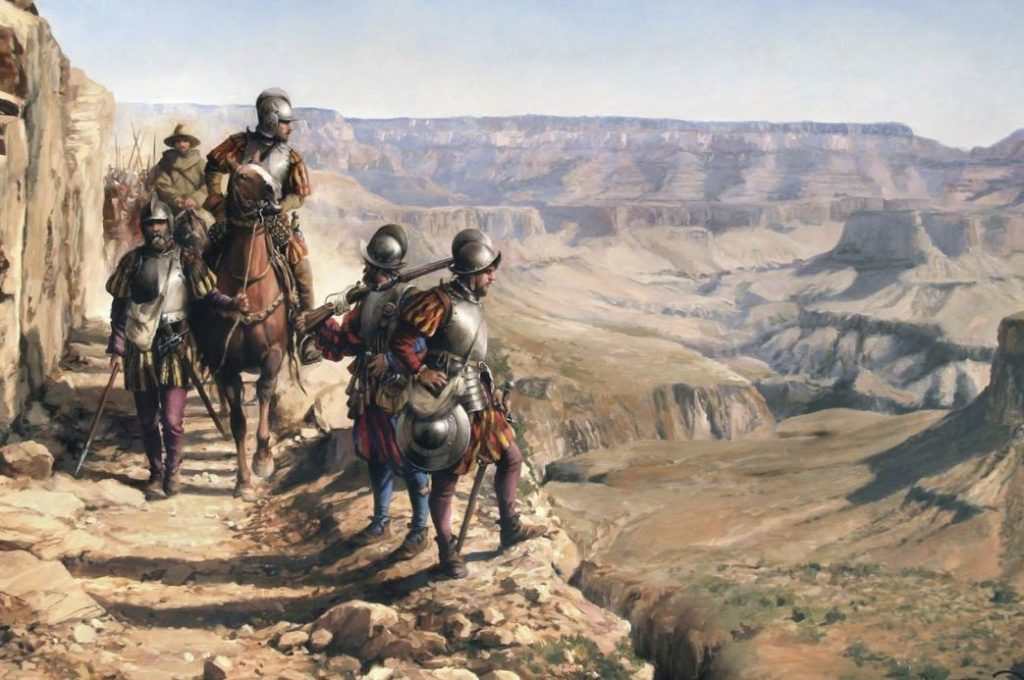 Conquistador - Spaanse conquistadores verkennen de Grand Canyon - Augusto Ferrer-Dalmau Nieto (Publiek Domein - wiki)