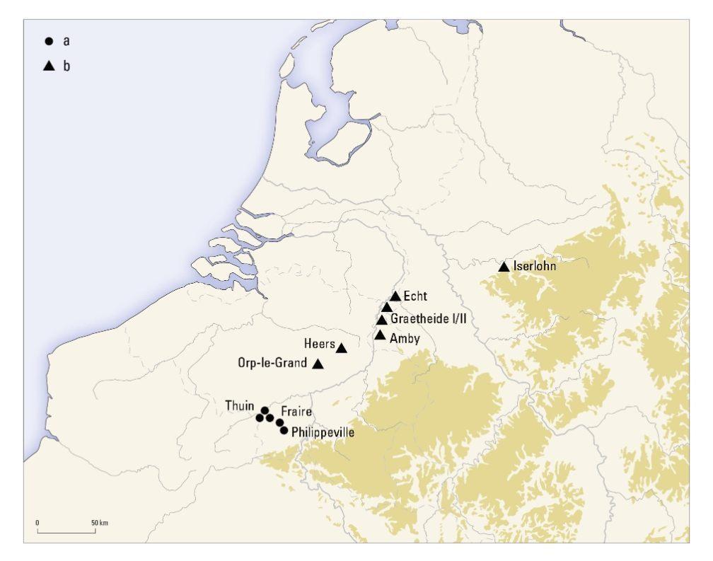 Verspreidingskaart van goud- en zilverschatten uit de tijd van de Romeinse verovering in Zuid-Nederland en België.Kaart Bert Brouwenstijn, Vrije Universiteit Amsterdam.