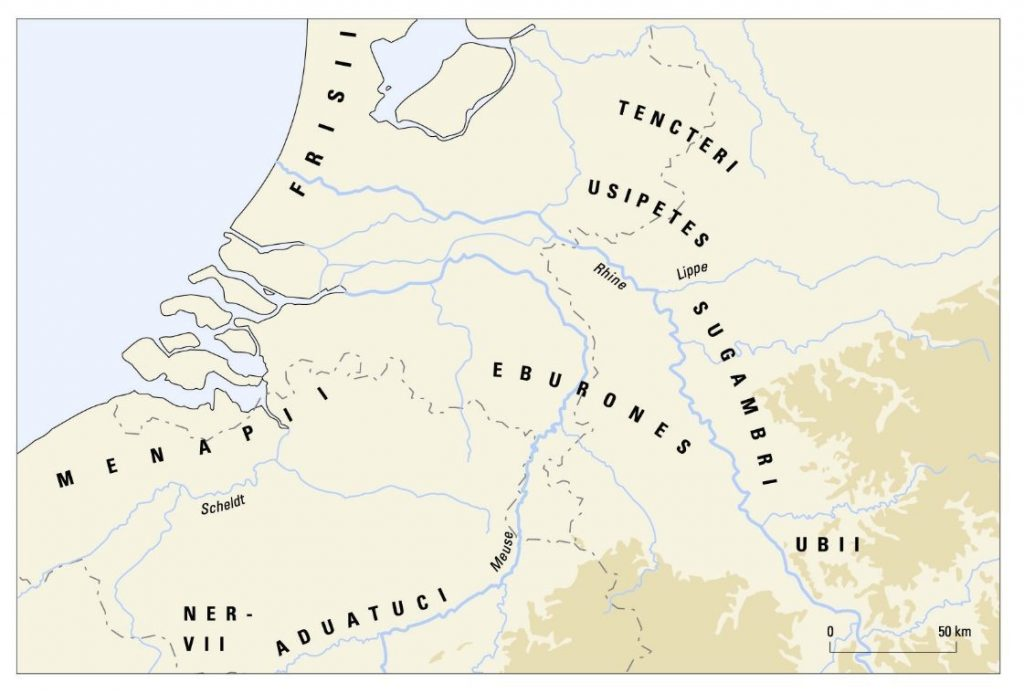Stammenkaart ten tijde van Caesars verovering. Kaart Bert Brouwenstijn, Vrije Universiteit Amsterdam.
