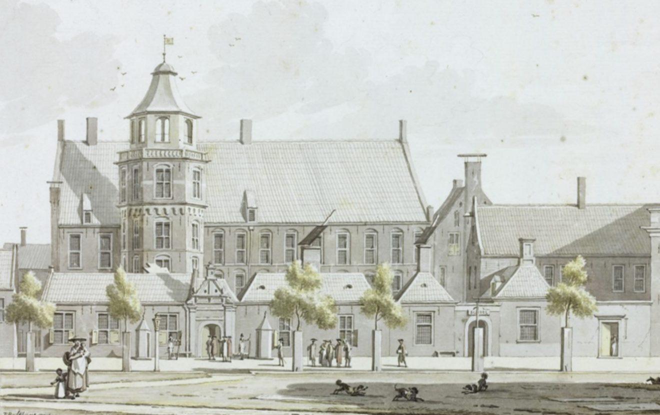 Provinciehuis van Groningen - Aquarel van Jan Bulthuis uit 1774 (Publiek Domein - wiki)