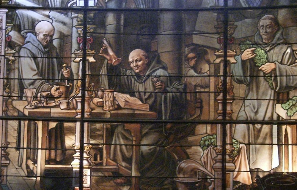Bernardo Vincelli en de Bénédictine in een glas-in-loodraam (CC BY-SA 3.0 - Tinodela - wiki)