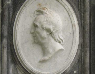 Portret van Gilles-Lambert Godecharle (voetstuk van het monument van Thomas Vinçotte in het Warandepark, Brussel). - Publiek domein / wiki